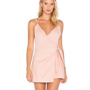 Lovers + Friends Pink Wrap Mini Dress